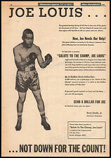 Salute to the Champ, JOE LOUIS__Original 1970 Trade AD benefit promo / poster