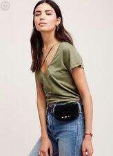 NWT Free People Black Suede Cara Pocket Belt Fanny Pack Size S/M