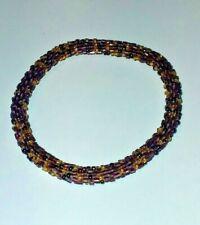 Unique Amethyst Purple Beaded Woven Rope BRACELET Hand Made Glass Bead BRACELET