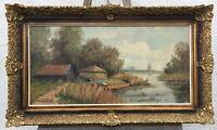 Ölgemöälde von Heinrichs im Prunkrahmen - Häuser und Boot am Fluss 58 x 98 cm