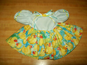 """RAINY DAY DUCKS DRESS W/ DUCK BUTTON RIBBON for 16-17-18"""" CPK Cabbage Patch Kids"""