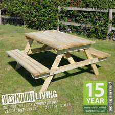 NEW STURDY PRESSURE TREATED 4FT 4 FT WOODEN PICNIC BENCH FOUR SEATER PUB TABLE