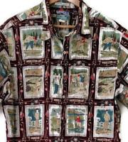 Reyn Spooner Golf Camp Shirt Mens XL Red Hawaiian Retro Egyptian Cotton Clubs