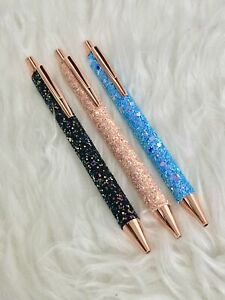 Luxury Glitter Coated Sparkly Rose Gold Ballpoint Pen/Biro/Stationery