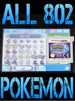 GENUINE POKEMON MOON WITH ALL 802 SHINY POKEMON ALL ITEMS NINTENDO 3DS 2DS SUN
