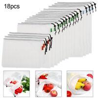 18x sacs réutilisable maille sacs pour faire l'épicerie et fruits de stockage