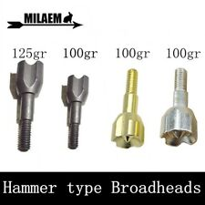 Broadheads 100-125gr Points Archery Arrowheads Tips Target Hammer Type Hunting