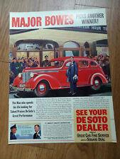 1938 DeSoto Ad Hollywood Star Major Bowes Amateur Hour
