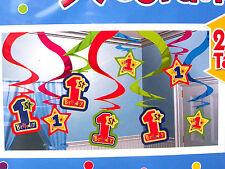 15 X 1st Primo Festa Di Compleanno Appeso Swirl & STAR FOIL DECORAZIONI 15 Pack
