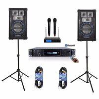 """8"""" SPEAKER SYSTEM PRO AUDIO AMPLIFIER MIXER DJ KJ YOUTUBE KARAOKE PA 1600 WATTS"""