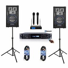 "8"" SPEAKER SYSTEM PRO AUDIO AMPLIFIER MIXER DJ KJ YOUTUBE KARAOKE PA 1600 WATTS"