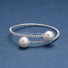 Diamante Crystal Rhinestone Pearl Ball Wedding Bracelet Cuff Bangle Women Party