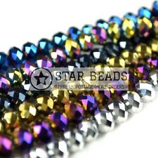 FACETED RONDELLE CRYSTAL GLASS BEADS PICK METALLIC COLOUR 4MM,6MM,8MM,10MM,12MM