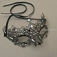 Venetian Black Metal Laser Cut With White Rhinestones Masquerade Prom Mask