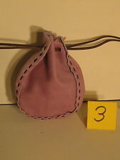 LGB-03 LIGHT VIOLET LEATHER DRAWSTRING BAG OR PURSE FREE SHIPPING WITHIN USA