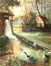 old home, water wheel, pond , ducks