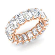 Certified 10.33 Ctw Emerald Cut Topaz 18k Rose Gold Full Eternity Band Ring