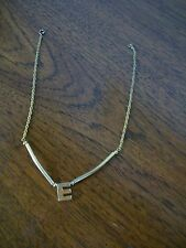 """Gilt Tone Chain with Drop Letter 'E', Length 14.5"""""""