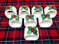 Vintage 8 Christmas Holly Napkin Rings White Ceramic Made in the Philippines