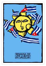 Cuban movie Poster 4 film Cinema en URUGUAY.Cine art with Sun and Flag