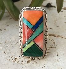 Native American Signed Multi Stone Inlay Ring   Size 7   Navajo Rings