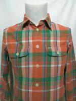 Polo Ralph Lauren Green Orange Blue Plaid Long Sleeve Shirt Mens Size Medium