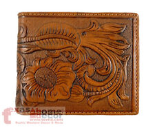 Western Bi-Fold Men's Wallet Genuine Hand Tooled Leather Floral Woven Brown
