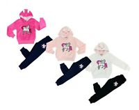 Girls Kids Sequin Unicorn Tracksuit Fur Fluffy Soft Hoodie jogger Tracksuit Sets