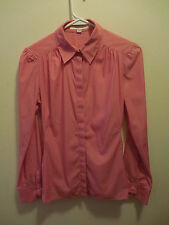 REISS Pink Button Down Long Sleeve Collared Blouse Shirt Size 6 Fitted Pinstripe