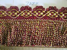 "9 yards BULLION SKIRT FRINGE 3 1/2"" Wine-Red/Gold/Yellow  Fabric Trim A7084"