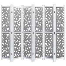 vidaXL Soild Wood 6-Panel Room Divider Grey Privacy Screen Room Partition