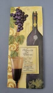 Wine Bottle Wine Glass Purple Grapes 3D Plaque Tile Wall Art, by New View.