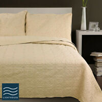 Luxury  Floral Neutral Deep Cream Quilted Double, King Bedspread Set Throw