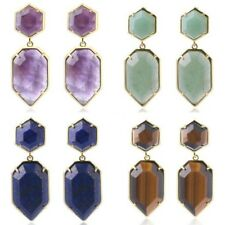 Gold Color Natural Polygons Quartz Crystal Stone Beads Gem Stud Women's Earrings