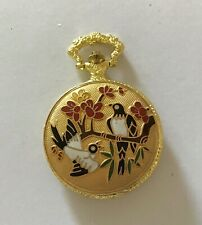 Analogue Pocket Watch - Working Unused Modern Gold Plated Enamelled Quartz