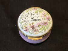Crummles Enamel A Year to Remember 1983 Trinket Box Hinged Gold Flowers Pink