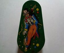 US Metal Toy Mfg Co. Spinning Tin Noise Maker Clown- Wooden Handle