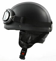 H110 Leder Retro Helm Motorradhelm Oldtimerhelm Halbschale Gr. XS S M L XL