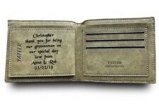 Mens Personalised Engraved Leather Wallet Wedding Gift Best Man Usher Groom Dad