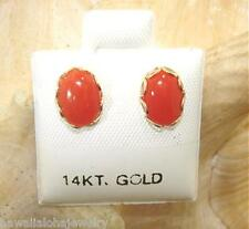 6X8MM GENUINE NATURAL OVAL RED CORAL SOLID 14K YELLOW GOLD POST STUD EARRINGS #1
