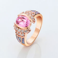 Rose Gold Filled Pink Sapphire Opal Wedding Ring Women's Fashion Jewelry Size6-9