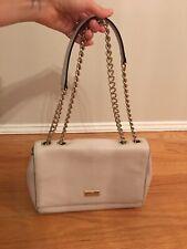 Kate Spade Leather Crossbody Bag Purse Gold Chain Strap Off White Light Gray EUC