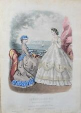 Lithograph with watercolor xix-Fashion illustrée-toilet and hair