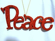 """7"""" RED GLITTER PEACE CHRISTMAS HANGING DECORATION ORNAMENT PRINT LETTERING NEW"""