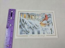 Girl Scouts Christmas Holiday Card Cardinals in Snow by Russell Cobane