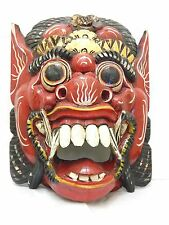 """Wooden Barong Mask Hand Carved&Hand Painted Wood Bali Wall Decor Art 15"""" #N1494"""