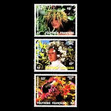 French Polynesia 1984 - Floral Headdresses - Sc 386/8 MNH