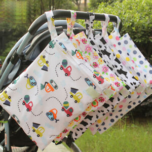 Waterproof Baby Cloth Diaper Nappy Pouch Reusable Zip Infant Wet Dry Bag Printed