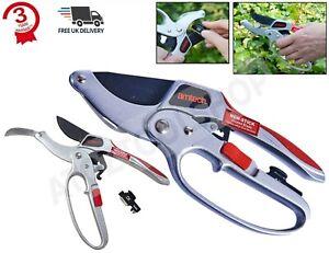 4 In 1 Deluxe Ratchet Pruner Garden Secateurs Cutter Plants With Oil & Sharpener