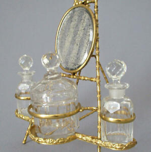 Antique 19thC FRENCH Crystal + DORE Bronze 3 Bottles + MIRROR Vanity Set